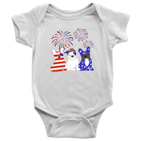 Frenchie 4th of July Baby and Toddler Shirt, Patriotic Baby Clothes