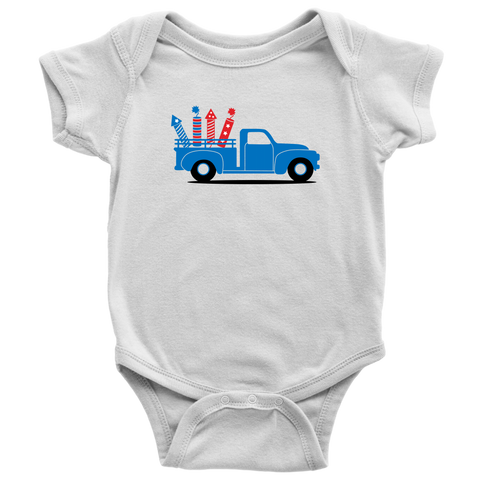 Firecracker Truck Baby and Toddler Shirt, Patriotic Boy Baby Clothes