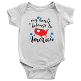 My Heart Belongs to America Baby and Toddler T-shirt, Patriotic Baby Clothes