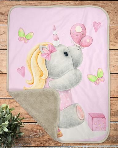Pink Little Unicorn Infant Sherpa Blanket, Girls Nursery Decorations