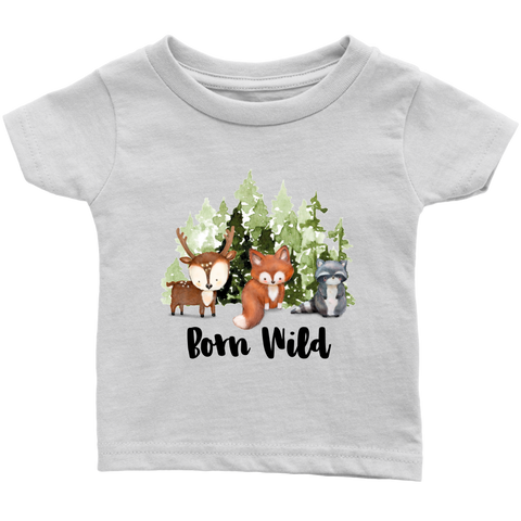 Born Wild Baby Shirt, Woodland Baby Clothes