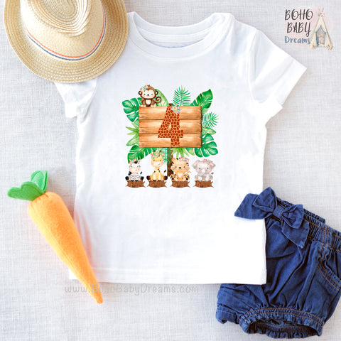 Four Giraffe Safari Girl Shirt, Birthday Girl Clothes