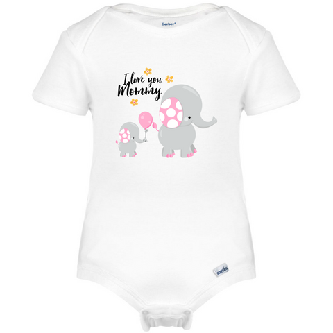 I love You Mommy Baby Onesie®, Floral Elephant Mothers Baby Clothes!