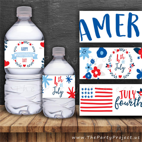 Patriotic water bottle labels | 4th of July party printables!