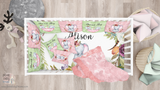 Personalized Name Crib Sheets, Cute Elephant Girl Nursery
