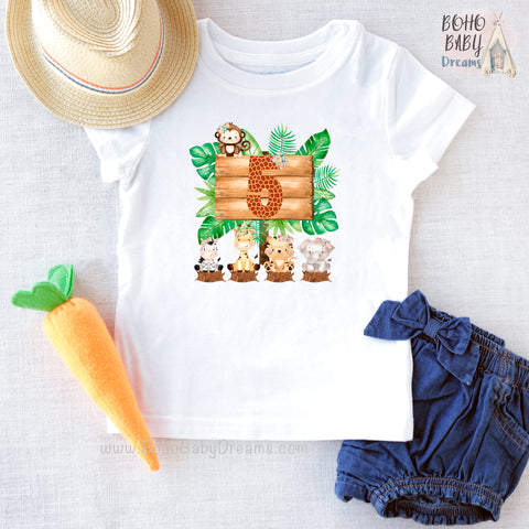Five Giraffe Safari Girl Shirt, Birthday Girl Clothes