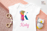 Personalized Name baby bodysuit, Letter K, Custom baby clothes