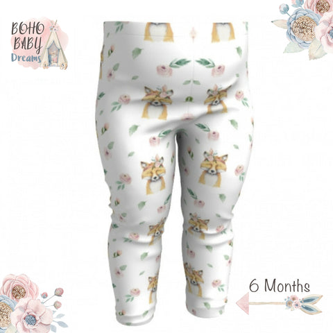 Fox Floral Face Boho Baby Leggings, Boho Baby Clothes!