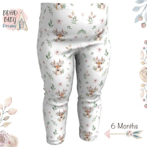 Boho Baby Clothes |  Deer Floral  Face Boho Baby Leggings