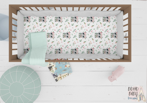 Raccoons Crib Sheets, Woodland Nursery