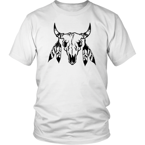 Unisex Shirt - Bull Skull Print - Tshirt Graphic Tee - Bull Sugar Skull Men's/Unisex T-shirt - Day of the Dead Clothing  - Sugar Skull Designs - Calavera GiftsSkull - Western Bull skull Graphic Tee -White Bull Skull Shirts - Birthday Gift - Halloween Gift - Halloween Clothes.
