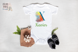 Personalized Name baby bodysuit, Letter X, Custom baby clothes