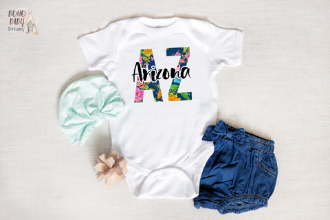 Arizona Baby Bodysuit, Floral State Boho Baby Clothes
