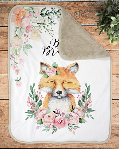 Boho Fox Sherpa Infant Blanket, Woodland Baby Blanket