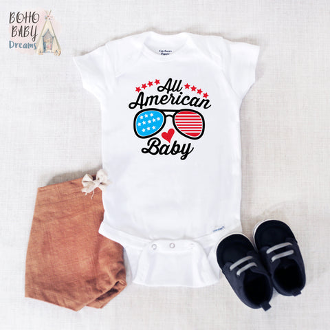 Sunglasses All American Baby Onesie®, Patriotic Baby Clothes
