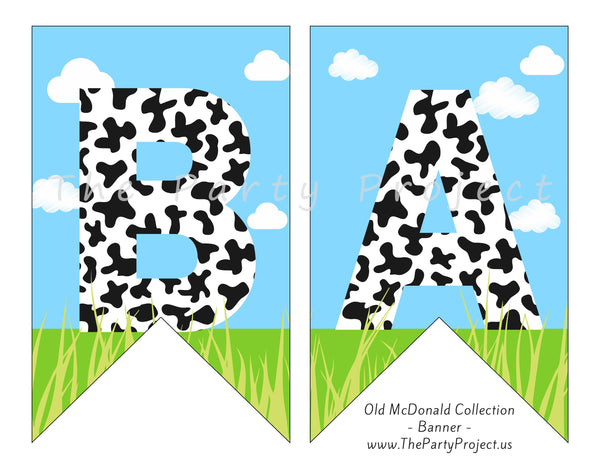 Farm baby shower banner | Barnyard party printables!