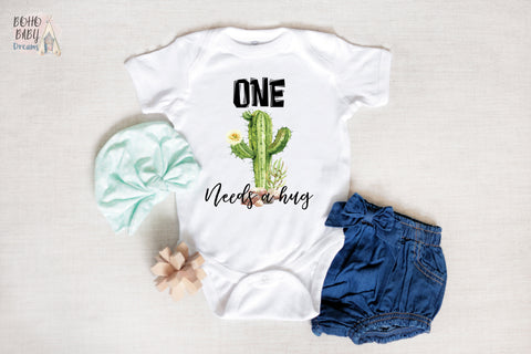 ONE Needs A Hug Cactus Baby Clothes, First Birthday Cacti Baby Outfit
