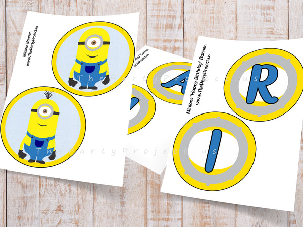 "DIY PRINTABLE Minions ""Happy Birthday"" Banner + Garland 