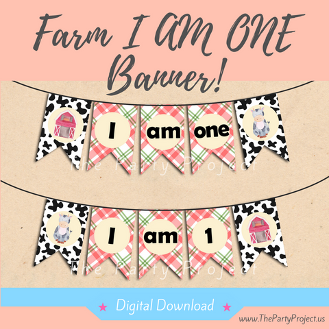DIY party PRINTABLE Farm I AM ONE banner | Barnyard high chair banner | Farm Watercolor Collection.