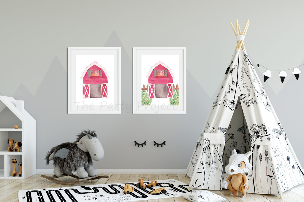 Barn wall art | Farm Printable wall decorations - Nursery and kids room!