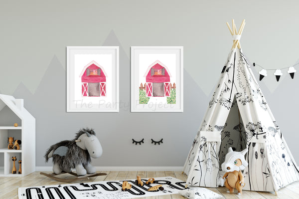 Diy printable barn wall art farm animals nursery kids for Barnyard wall mural