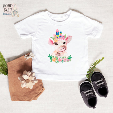 Boho Pig Baby and Toddler T-shirt, Farm Girl Baby Clothes