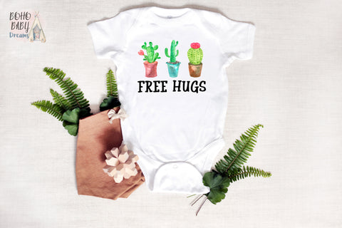 Free Hugs Baby Clothes, Funny Cactus Baby Outfit