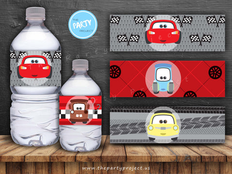 THE PARTY PROJECT | Cars party printables - water bottle labels