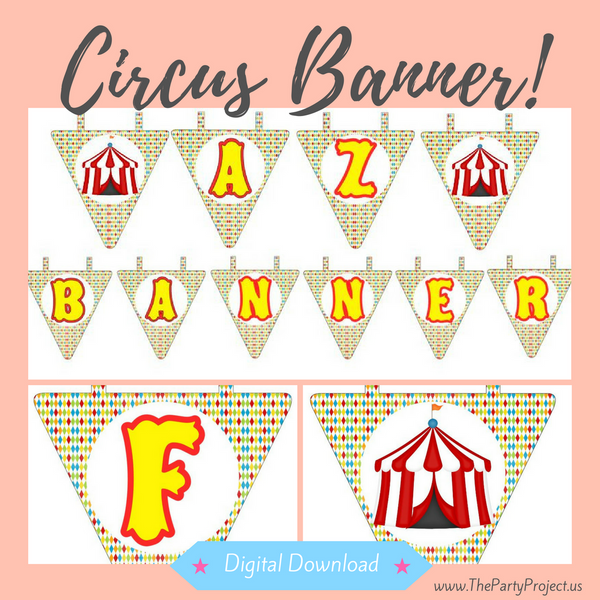 DIY party PRINTABLE Circus banner | Digital Download | A-Z and 1-9 Carnival pennants Instand download