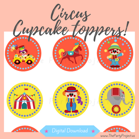 "DIY Party PRINTABLE Circus Toppers | Digital Download | 2"" Carnival cupcake picks!"