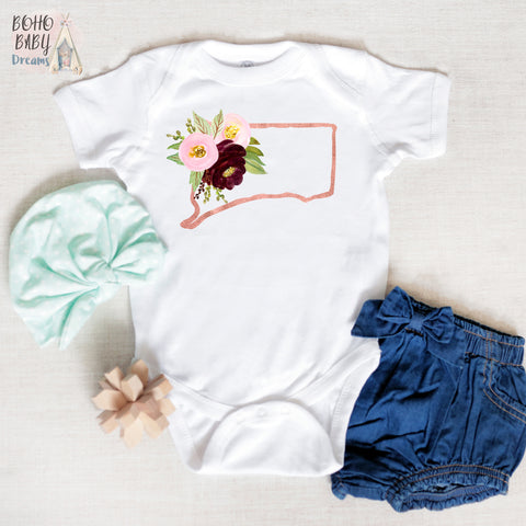 Connecticut Baby Clothes, Floral State Girl Outfit