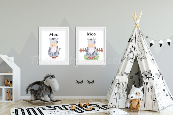 Cow wall art | Farm Printable wall decorations - Nursery and kids room!