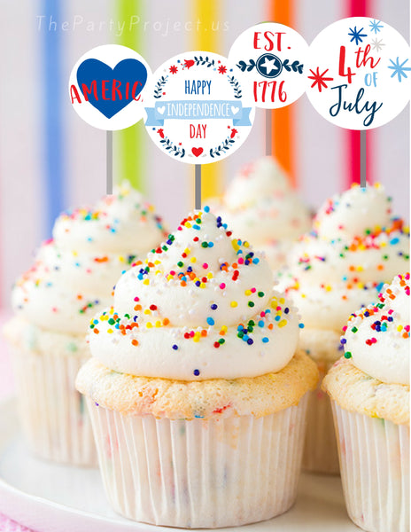 DIY Patriotic cupcake toppers | 4th of July party printables!
