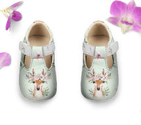 Deer Baby Shoes, Girl Woodland Toddler Strap Shoes
