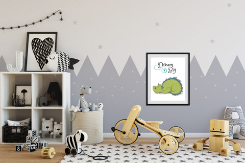 "DIY PRINTABLE Sleeping Dragon wall art | Digital Download | Fairy Tale nursery | Printable kids rooms decor | 8"" x 10"" Dream Big print art!"