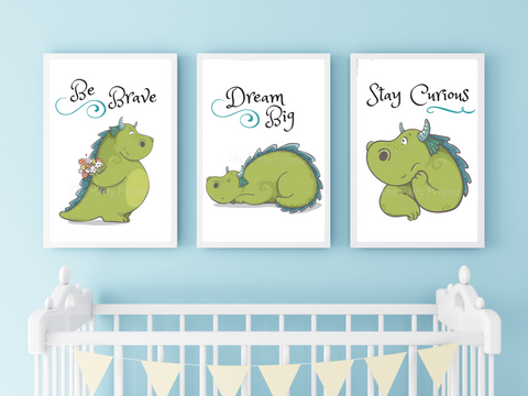 "DIY PRINTABLE 3 Dragon wall art set | Digital Download | Fairy Tale nursery | Printable kids rooms decor | 8"" x 10"" print art!"