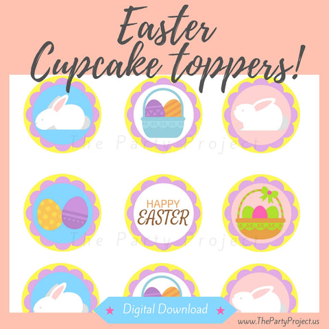 "DIY Party PRINTABLE Easter cupcake toppers | Digital Download | 2"" Spring cupcake picks!"