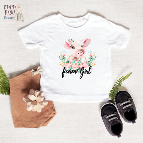 Farm Girl Baby and Toddler ClothesT-shirt, Cute Pig Baby Clothes