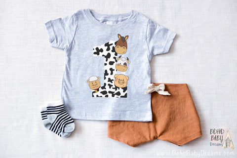 Barnyard baby t-shirt 1 year | Infant graphic tee | Farm 1st birthday shirt