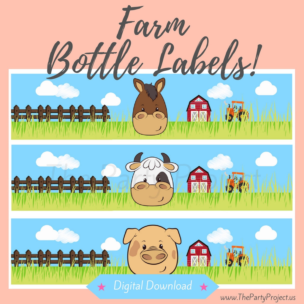 "DIY party PRINTABLE Farm bottle labels | Digital Download | 8.5"" x 2"" Barnyard water labels!"