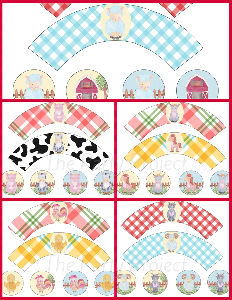 DIY party PRINTABLE Farm Cupcake Toppers and wrappers set! - Farm Watercolor Collection!