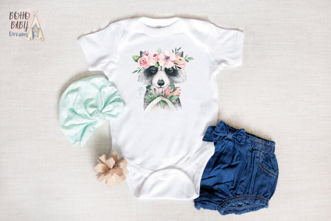 Boho Baby Clothes | Woodland Raccoon Floral Boho Baby Bodysuit!