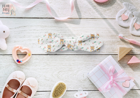 Boho Floral Fox's Baby Headbands, Reversible Girl Bow Knot