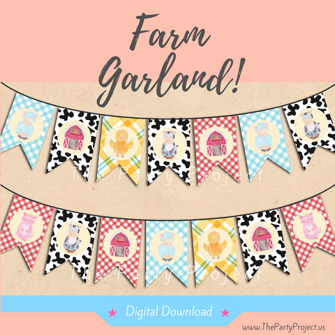 DIY party PRINTABLE Farm Garland! | Barnyard banner | Farm Watercolor Collection.