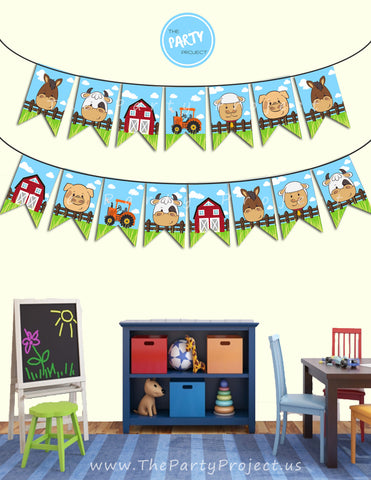 THE PARTY PROJECT | Barnyard garland - Farmhouse birthday or baby shower wall hanging decorations - Farm banner!