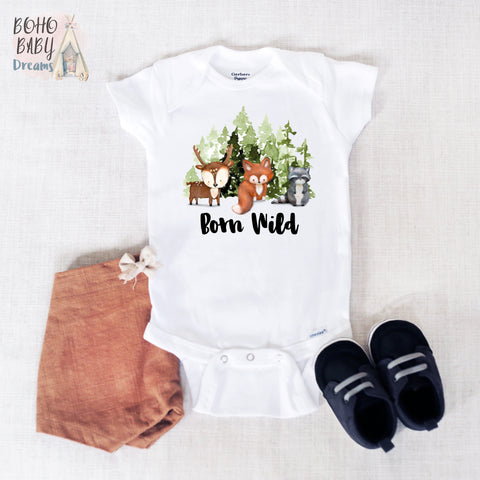 Born Wild Baby Onesie®, Woodland Baby Clothes