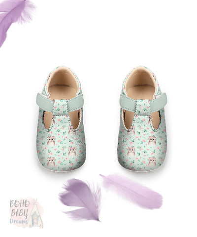 Boho Owls Baby Shoes, Girl Woodland Toddler Strap Shoes