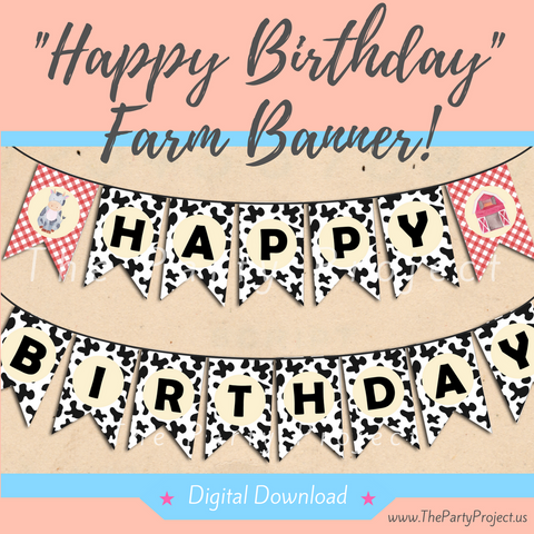 "DIY party PRINTABLE Farm ""Happy Birthday"" banner 