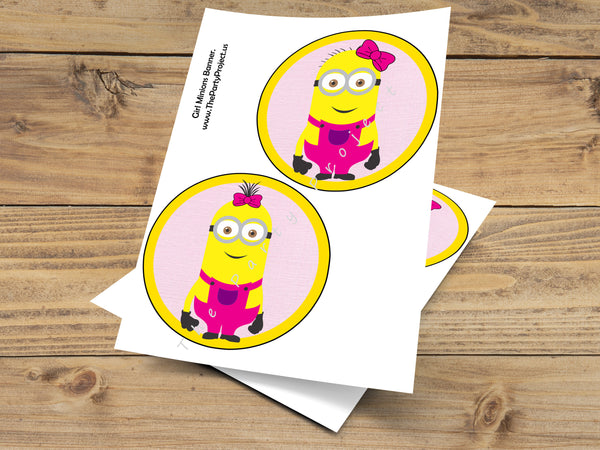 Girl minion birthday banner | Pink Despicable me party printables!