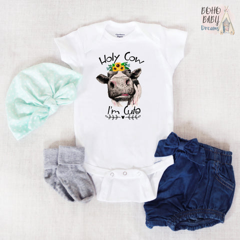 Holy Cow I'm Cute Baby Onesie®, Farm Baby Clothes